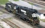 NS 5516 and NS 5018 moving at the NS engine servicing facility