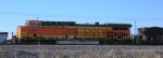 BNSF 5641 at end of loaded RWSX coal train, on mainline,