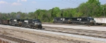 NS 9330 and NS 8680 NB out of yard; NS 9777 and NS 7600 SB into yard,