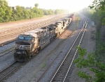 NS 9865 leading train, headed for the yard