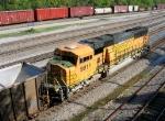BNSF 9911 at end of empty unit coal train,