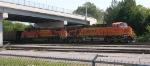 BNSF 5804 waiting on NS mainline leading empty unit coal train