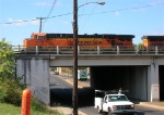 BNSF 5852 on mainline at Main St.,
