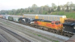 BNSF 4504 and NS 9647 NB in short freight,