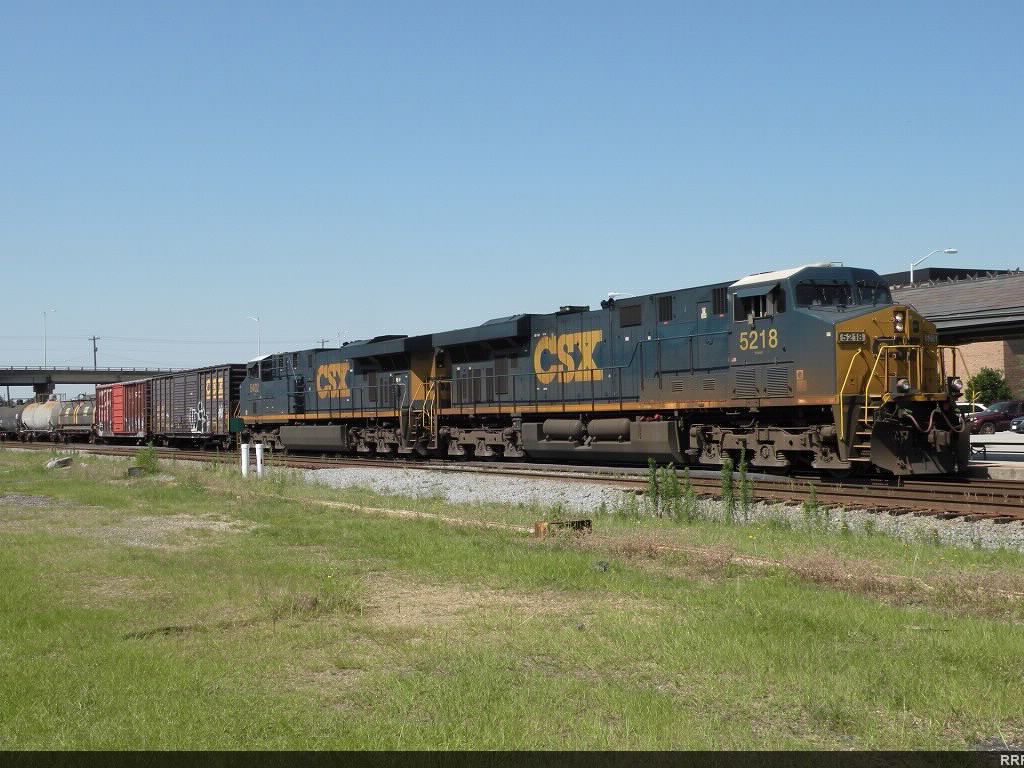 Northbound CSX freight behind a pair of GEVO's getting underway out of Rocky Mount.