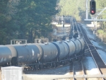 countless ADM and TLX tanker cars with ADMX 29259 near the front roll southbound off the A-line and onto the Callahan sub toward Baldwin