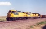 CNW northbound train near Bill, Wyoming
