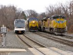 NJT 3501, CSX 624, and UP 8529