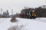 With CSX 8502 & 8779 for power, Y106 rolls east through town at the start of its daily chores