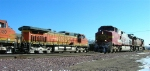 BNSF 4552, with BNSF 4716 headed on mainline to front of 1st section of shuttle,