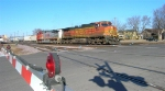 BNSF 4507 and BNSF backing toward the 1st section,