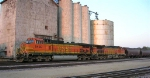 BNSF 5430 will lead unit grain shuttle out of town,
