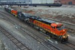 BNSF 6142 Heads up a freight Sb onto to the Fort Scott Sub.
