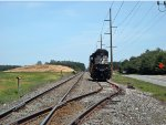 NS SD60E #6951 are tied down and, sit on Wyoming siding