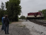 Some of the BSMRM crew admiring the 1952 built, ex-SOO GP7 still in operating order.