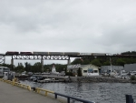 Northbound CP train gliding across the Parry Sound Trestle.