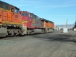 BNSF 742 C44-9W heading through yard
