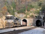 NS 2684 leads an empty hopper train, about the ONLY time the sun  was out when a train approached, at montgomery tunnel
