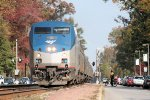 Southbound Amtrak train # 89 rolls into town on a bright fall mid morning