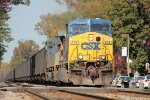 AC60CW 608 leads southbound coal train T727 through town