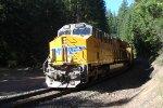 UP 2636 About to cross the Salt Creek Trestle above  Oakridge Oregon