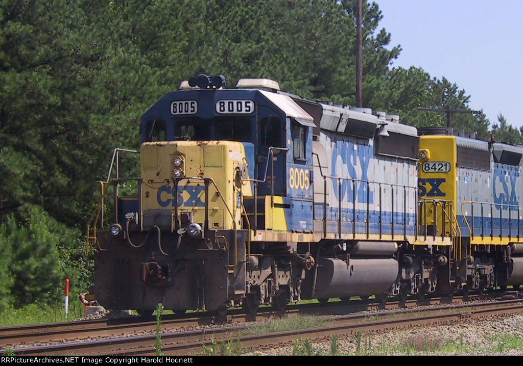 CSX 8005 is leaving Collier Yard