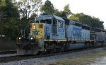 CSX 8023 leads a train twards Bennett Yard