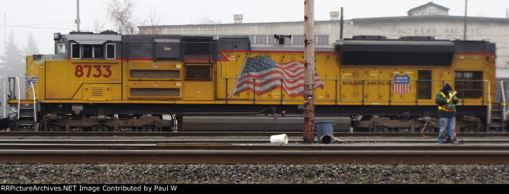 UP 8377 sits in the Eugene yard waiting for the next train out of town.
