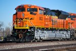 BNSF 9033 Reflects the Denver Morning Sun Off Her Very, Very Brand New BNSF Swoosh Logo Paint as She Leads a Southbound Loaded Coal Train at South Denver Tiedown spot.