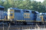 CSX 2614 sits in the dead line with other locos