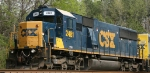 CSX 2481 sits in a siding with an SD38