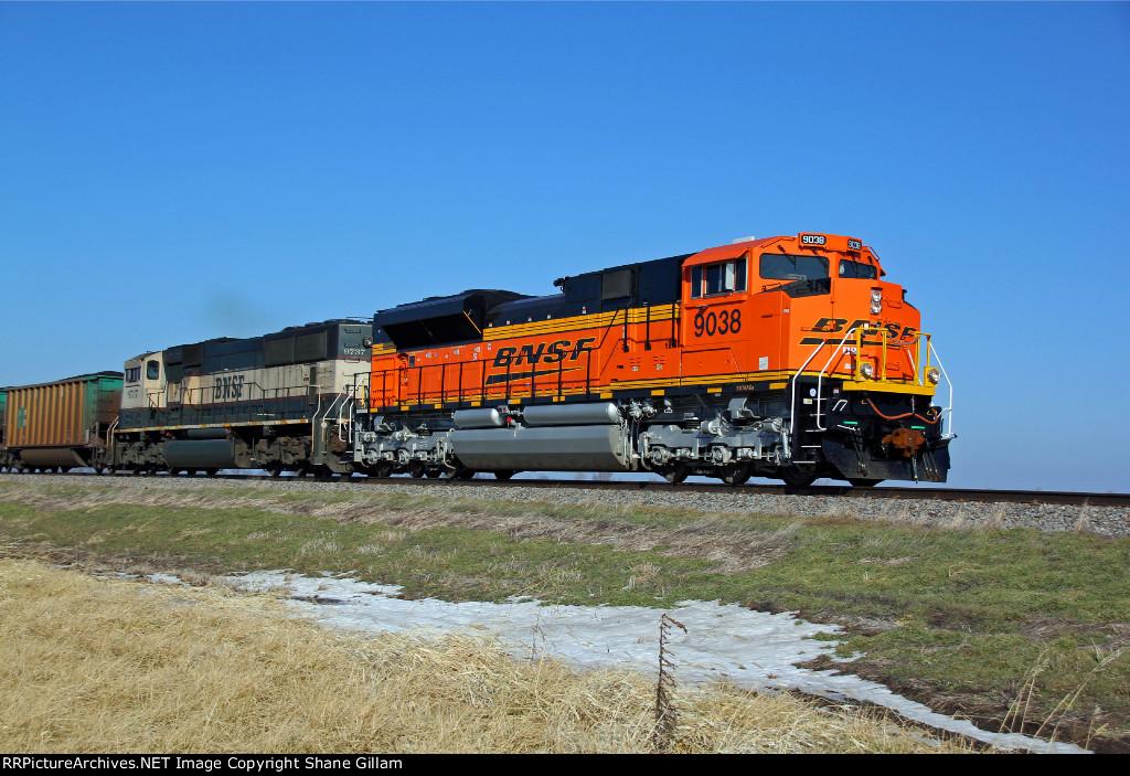 BNSF 9038 Brand new Ace leads a coal load SB.
