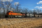 BNSF 5871 Leads a empty coal Nb up the K line.