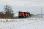 BNSF 9302 Kick's up snow!!