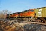 BNSF 5400 and BNSF 5325 trails on this Nb grain train.