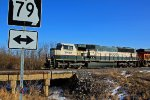 BNSF 9666 Heads past Mo state Hwy 79.