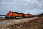 BNSF 5877 Heads up a empty coal into Lousiana Mo.
