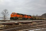 BNSF 6199 Heads a empty coal train Nb up the K line.