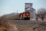 BNSF 6021 Leads a empty coal through Elsberry Mo,