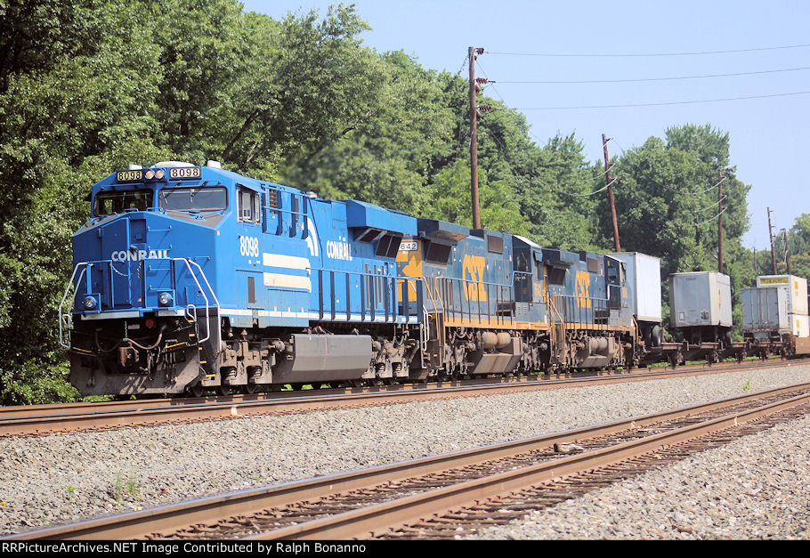 NS Conrail heritage unit leads southbound Q008 on track 2