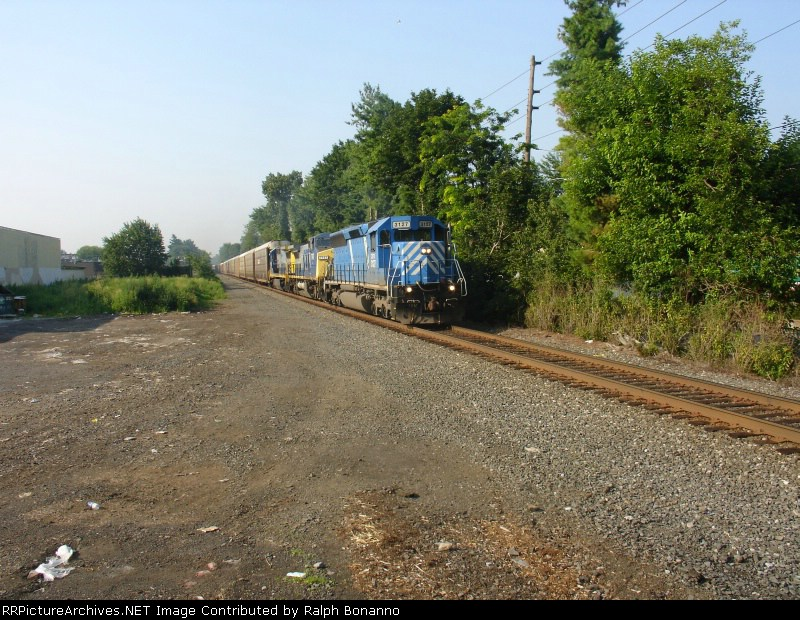 Q271-01 rolls northward as the train pulls off of track 1 at CP-10
