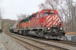 "K678-11, with one of the few CP SD40's to still sport the ""multimark"" logo, awaits northbound traffic"