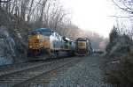 Q156-14 roars downhill  on the main passing the Q417 at CP-76