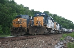 Q439(left) and Q417(right) hold at CP 66 awaiting a track foreman to clear up.