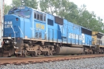 The former CR 5642, the last SD60I still in CR blue, trails on the X433-19