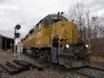 GMTX 2188 leads a cut of engines out of the NECR yard in Palmer.