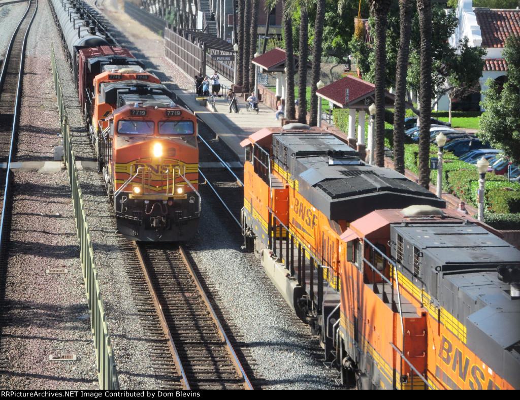 Two BNSF Trains Meeting