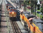 Two BNSF Trains Meeting