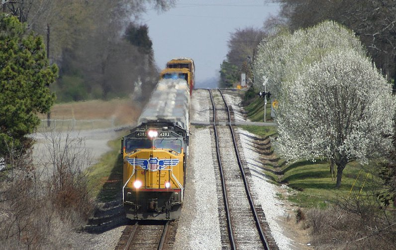 Q619 passing the Bradford Pear trees in full bloom