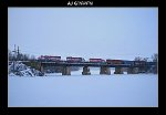 WSOR 4010, 4007, and 4001 bringing T004-18 across the Rock River.